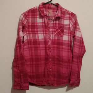 Faded Glory Shirts & Tops - 🌺Girls🌺 Ombre Dip Dye Flannel Button Down Shirt